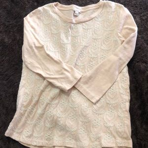 Pinkish white J Crew top with half length sleeves